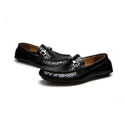 JITAI Men's Driving Penny Loafers Suede Driver Moccasins Slip On Flats Casual Dress Boat Shoes (9 (D) M US, Black.)