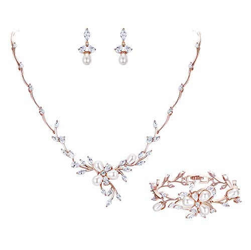 (EVER FAITH CZ Simulated Pearl Bridal Flower Filigree Necklace Earrings Bracelet Set Clear Rose Gold-Tone)