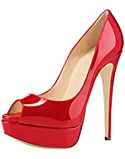 Cdvintu Women Solid Patent Leather Peep Toe 1.2 inches Platform Pumps 6.3 inches Stiletto High Heel Sandals