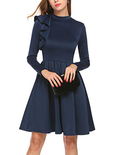 ELESOL Women Long Sleeve Ruffle Shoulder Cocktail Party Fit and Flare Dress Navy Blue