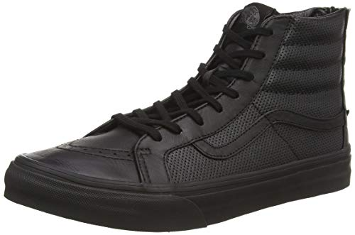 Vans U Sk8-hi Slim Zip Perf Leather, Unisex Adults' Low-Top Sneakers, Black (perf Leather/Black/Black), 3 UK (35 EU) (Vans Sk8 Hi Zip)