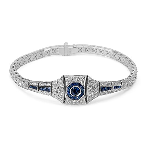 BRAND NEW Art Deco Style Diamond & Sapphire Bracelet in 18K White Gold by Loved Luxuries