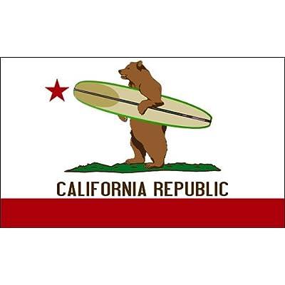 American Vinyl California Surfing Bear Sticker (surf Board Flag Surfer ca Republic): Automotive