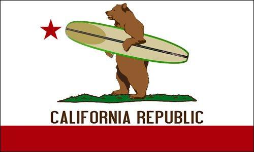 American Vinyl California Surfing Bear Sticker (surf Board Flag Surfer ca Republic)
