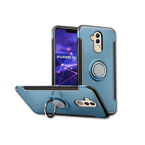 Orzero TPU + PC Hybrid Dual Layer Case for Huawei Mate 20 Lite Full Body Heavy Duty Protection 360 Rotating Metal Ring [Adsorbed Iron Plate]-Navy ()