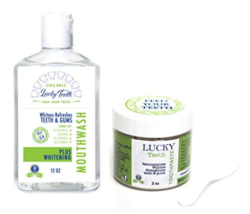 Organic Oral Care Pack - Food Grade Peroxide Whitening Mouthwash + Remineralizing Toothpaste - by Lucky ()