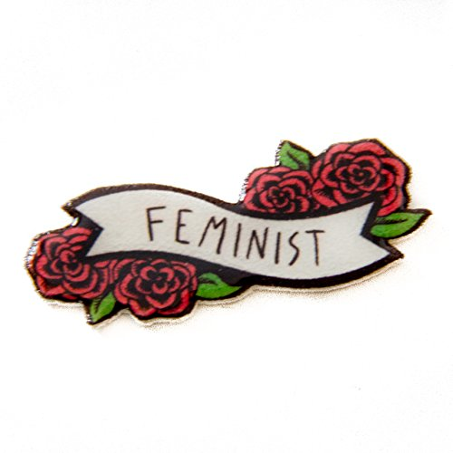 Feminist Lapel Pin on Banner with Flowers