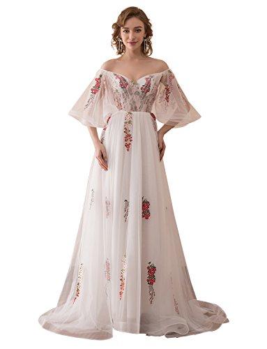 Tüll Stickerei Ausschnitt Spitze V Prinzessin mit Abendkleid Formeller Ballkleid Applikationen Erosebridal wqvfBB