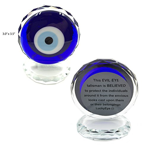 5410 Turkish Crystal Evil Eye Paperweight for Home Office or Gift (Standard)