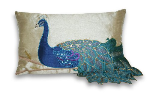 Thro by Marlo Lorenz 4183 Fancy Peacock 12 by 20-Inch Pillow, Multi (Decorative Items Peacock)