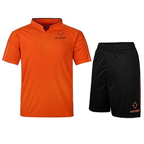 Custom Uniform Football Pant (Rigorer Short-Sleeve Soccer Uniforms Jersey and Shorts Set Orange&Black L)