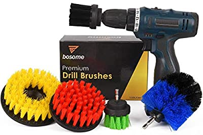 BOSOME Ultimate Drill Brush Set of 5 - Cleaning Kit - 5 Brush Designs - Bathroom, Kitchen, Toilet, Tile, Grout, Floor, Carpet, Rim, Shower, Tub, Indoor and Outdoors Power Scrubber - Drill Attachment