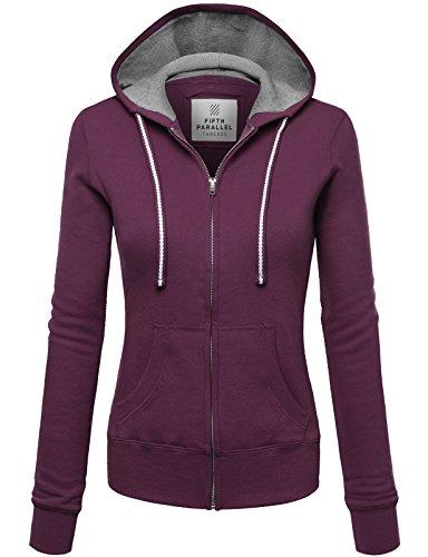 Fifth Parallel Threads Thermal Hood Lined Zip-Up Fleece Hoodie Sweatshirt Plum - Parallel Thermal