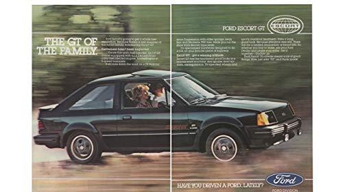 Magazine Print Ad: Black 1983 Ford Escort GT, 1.6 L, TR Performance Suspension,