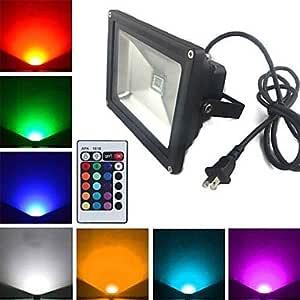 Leedfsw Black Waterproof 20W 1900LM RGB Light Remote Controlled LED Flood Lamp + 1.5m Extension cord + US Plug (AC85V-265V)