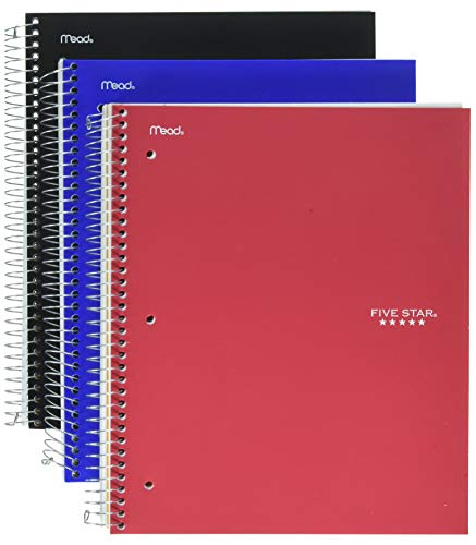Dividers White 8.5 (Five Star Spiral Notebooks, 3 Subject, College Ruled Paper, 150 Sheets, 11
