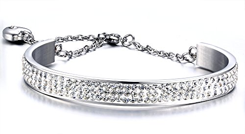 Stainless Steel 8mm Width 3 Row of Crystal Rhinestone Cuff Bangle Bracelets with Extend Chain,