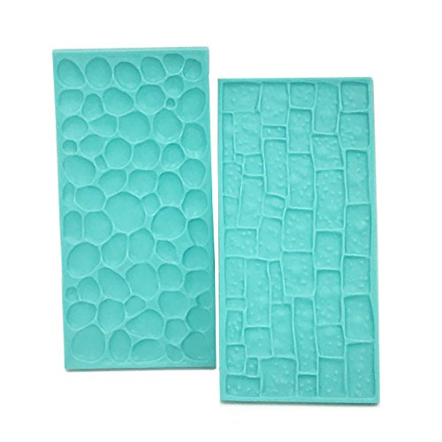 Fondant Impression Mat Set - Cobblestone & Stone Wall Design Sugarcraft Decorating Tool Gumpaste Embosser for Cup Cake Top Decoration Color Random