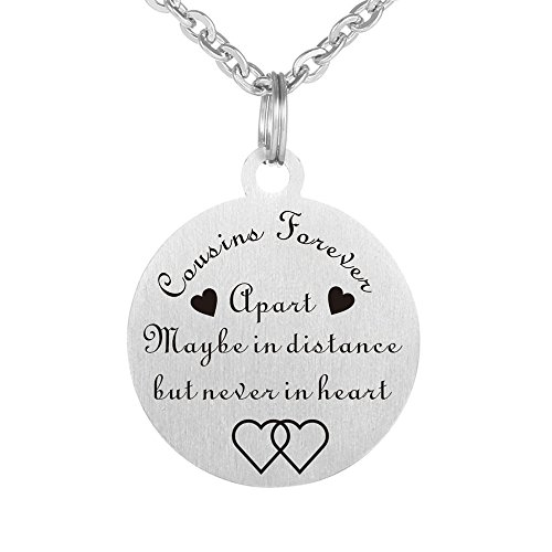 Kisseason Stainless Steel Cousins Forever Birthday Vacation Friendship Gift Jewelry Keychain Pendant Necklace