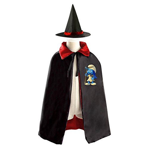 DIY Lost Village Smurfette Costumes Party Dress Up Cape Reversible with Wizard Witch Hat