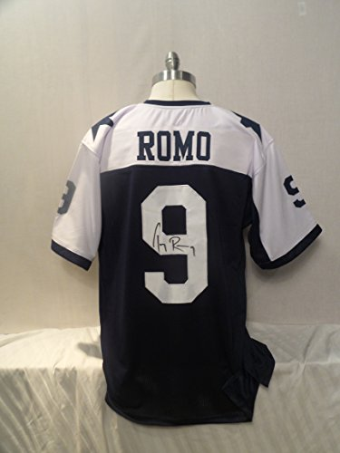 Tony Romo Back Jersey (Tony Romo Thanksgiving Signed Dallas Cowboys Throwback Autographed Jersey Novelty Custom Jersey)