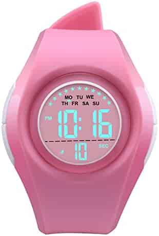 Kids Watch Waterproof Children Electronic Watch - Lighting Watch 50M Waterproof for Outdoor Sports,LED Digital Stopwatch with Chronograph, Alarm,Time Window Child Wrist Watch for Boys, Girls (Pink)