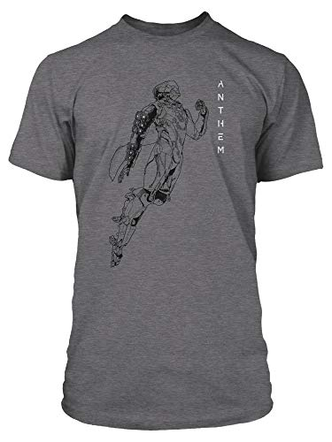 JINX Anthem Men's Storm Lineart Game Tee Shirt (Graphite Heather, Medium) ()