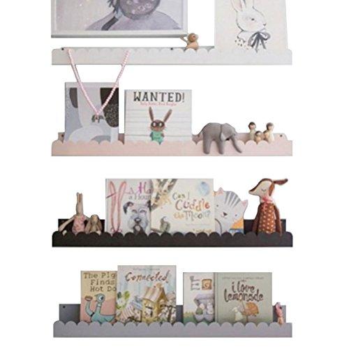 HARRA HOME Baby Nursery Wall Shelf - Wall Mounted Floating Shelves For Kid's Room Nursery Room, Bedroom Kitchen Toddler Children Room Decor, Set of 2 (Grey, 35.4Inch) by HARRA