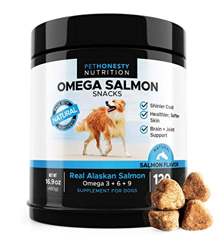 (Salmon Oil for Dogs - Omega 3 Fish Oil For Dogs All-Natural Wild Alaskan Salmon Chews Omega 3 for Dogs for Healthy Skin & Coat, Cure Itchy Skin, Dog Allergies, Reduce Shedding - 120 Count Dog Fish Oil)