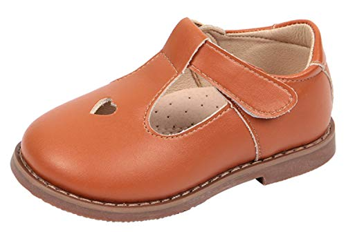 WUIWUIYU Girls' Oxfords Shoes T-Strap Casual Walking School Uniform Dress Princess Mary Jane Flats Brown US Size 7.5 M ()