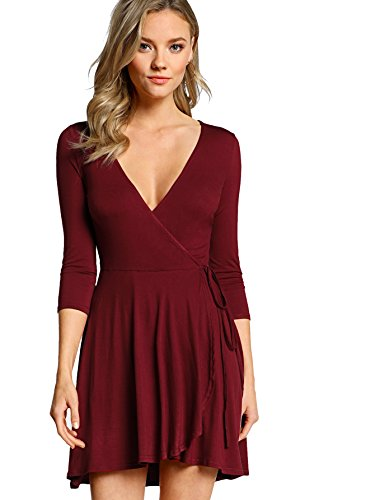 Milumia Women's Bohemian 3/4 Sleeve Faux Wrap Maxi Dress Medium Burgundy (Surplice Wrap Dress)