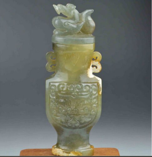 Old Collection Vase - Genuine Chinese Xinjiang Hetian Jade Dragon Nephrite Statue Pot Vase netsuke White Antique Old Ancient Emerald Amulet China Buddhist Old White natural Collection