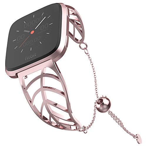 UooMoo Band Compatible with Fitbit Versa, Leaf Shape Stainless Steel Bracelet Women Replacement for Fitbit Versa Smart Watch-Pink Gold