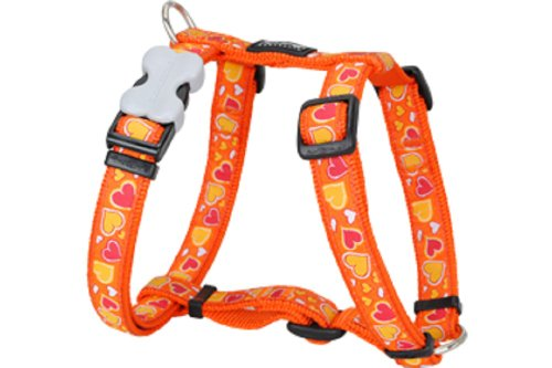 Red Dingo Designer Dog Harness, Large, Breezy Love Orange