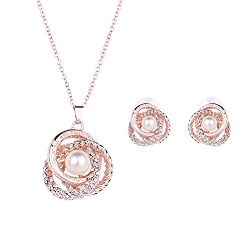 Rose Gold Plated Elegant Pearl Pendant Necklace Earrings Set Jewelry Set for Women