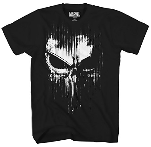 Marvel The Punisher Dirty Skull Vest Logo Adult T-Shirt (Small, -