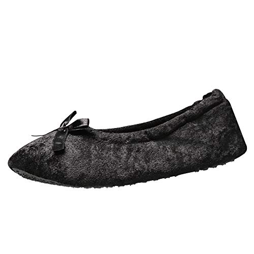 9ad22dbb52f11 ExtraComfort Women's Slippers Elegant and Portable Velour Ballerina ...