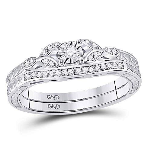 Sterling Silver Womens Round Diamond Bridal Wedding Engagement Ring Band Set 1/8 Cttw