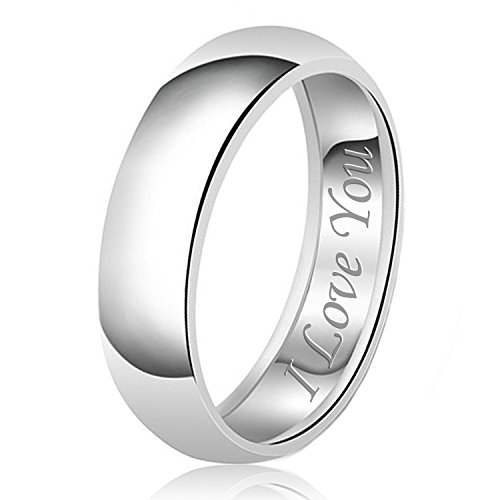 8mm I Love You Engraved Classic Sterling Silver Plain Wedding Band Ring, Size 13