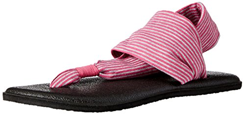 Sanuk Kids Yoga Sling Burst Flip Flop (Toddler/Little Kid/Big Kid), Fuchsia/Purple Stripes, 2/3 M US Little - Havianas Kids For
