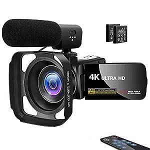 Flashandfocus.com 41uQiTN7GaL._SS300_ Camcorder Video Camera 4K 30MP Digital Camcorder Camera with Microphone Ultra HD Vlogging Camera with Remote Control…