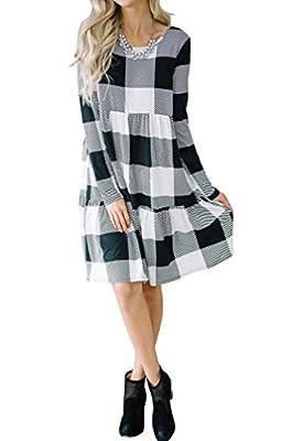 Chellysun Women Plaid Long Sleeve Shirt Dress Peplum Waist Midi Casual Dress with Pockets