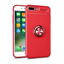 Soft Phone Case for iPhone 7 Plus,Yobby iPhone 8 Plus Ultra Slim Case with 360 Degree Rotating Ring Holder Kickstand [Magnetic Car Mount] Shockproof Protective Cover-Red