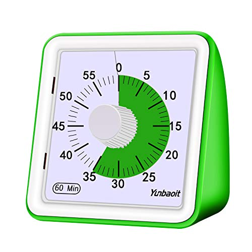 Yunbaoit Visual Analog Timer,Countdown Clock,No Loud Ticking,Time Management Tool for Kids and Adults(Green) (Big Clocks Kitchen For)