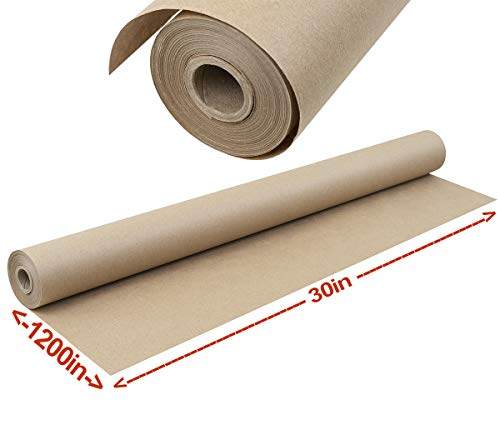 Brown Kraft Paper Roll for Wrapping, Packaging, Moving, Crafts, Protecting Surfaces and More. Huge Roll, 30 Inches x 100 feet. Strong, Easy to Use 40# Paper. 100% Recycled, Made in USA. (Kraft Resist Paper)