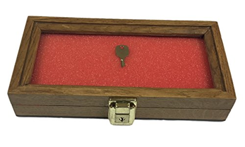 Walnut, Oak, or Cherry Wood Display Case 5 x 10 x 2 for Arrowheads Knifes Collectibles & More (Oak Wood) (Plaid Wood Surface Crafting Birdhouse 12740 Gazebo)