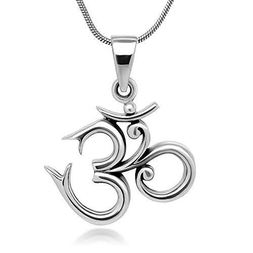925 Sterling Silver 19 mm OM Pendant For Men Sanskrit Symbol Yoga Charm Necklace Women Girls Handmade Gift 18''Inches from Crafts Avenue
