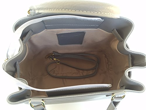 en SUPERFLYBAGS Fabriqué Praga Italie Gris Modèl Sac en Godets véritable à cuir q1t1r6