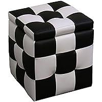 ORE International HB4443 Checkered Block Storage Ottoman Plus 1-Seating, 16-Inch