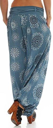3481 Pantaloni Boyfriend Pump Unica Chiaro Sbuffo Harem Print Con Donna Aladin Baggy Taglia Yoga Malito Estivo Blu P5TqwXUU